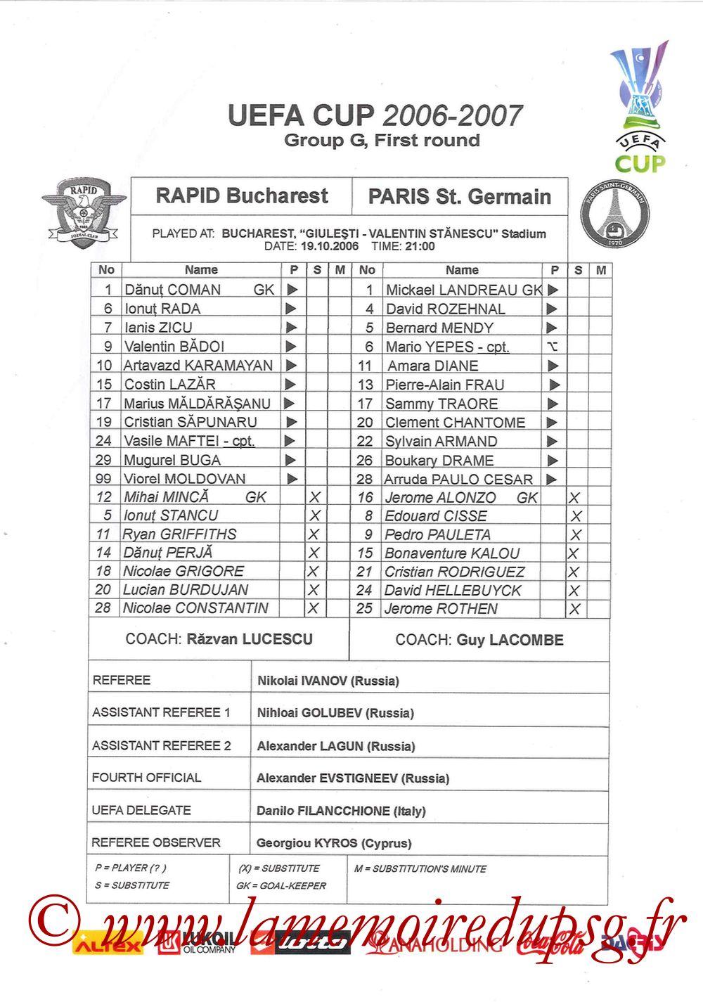 2006-10-19  Rapid Bucarest-PSG (1ère Poule C3, Feuille de match)