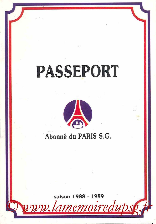 1988-89 - Passeport Abonné du PSG - Couverture
