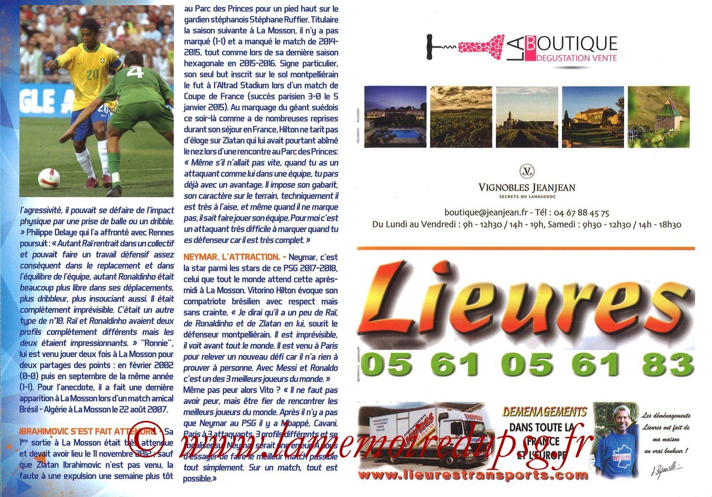 2017-09-23  Montpellier-PSG (7ème L1, L'Echo de la Mosson N°4) - Pages 16 et 17