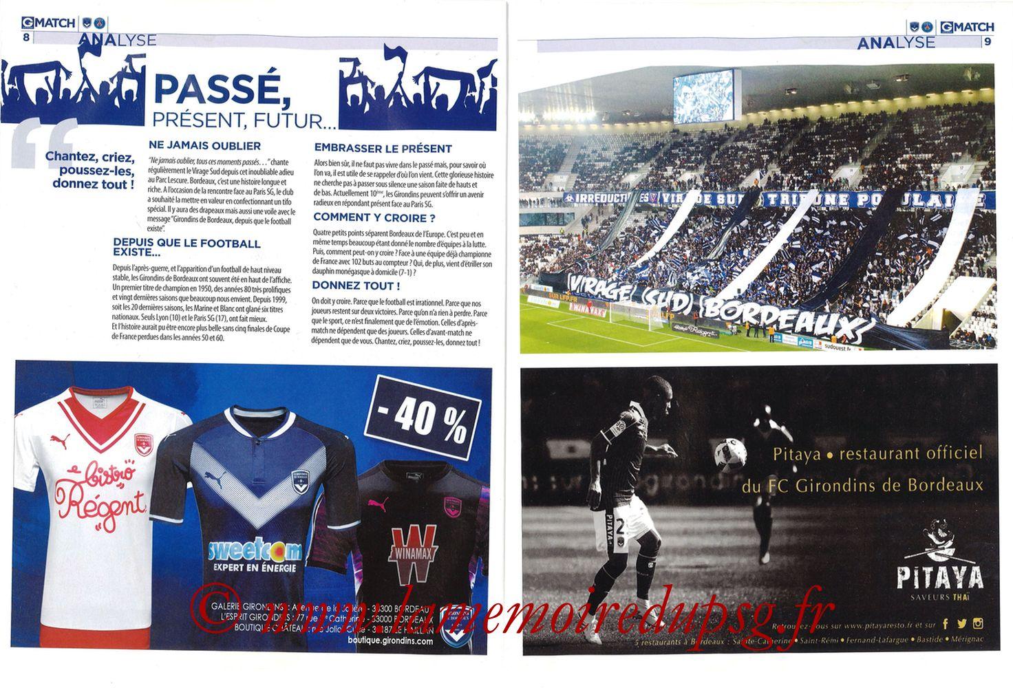 2018-04-22  Bordeaux-PSG (34ème L1, Girondins Match N°59) - Pages 08 et 09