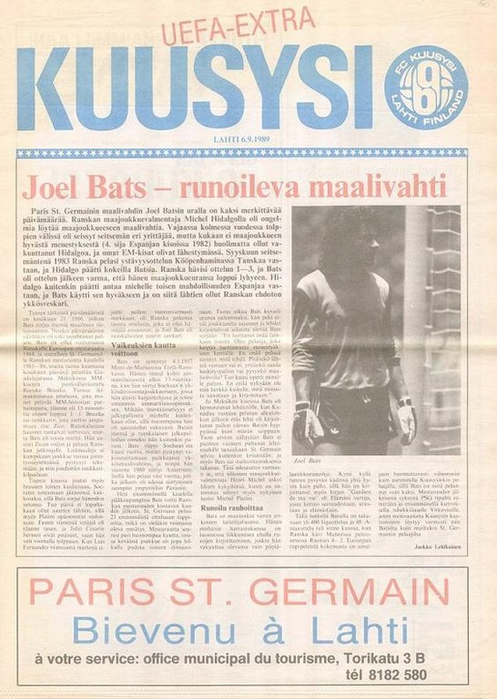 1989-09-13  Kuusisy Lahti-PSG (32ème Finale Aller C3, Programme officiel)