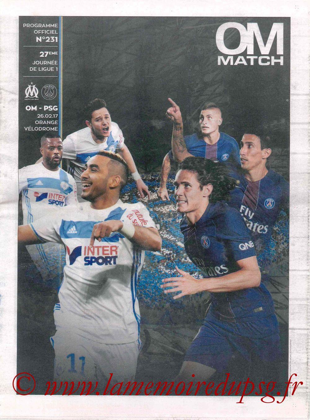 2017-02-26  Marseille-PSG (27ème L1, OM Match N° 231)