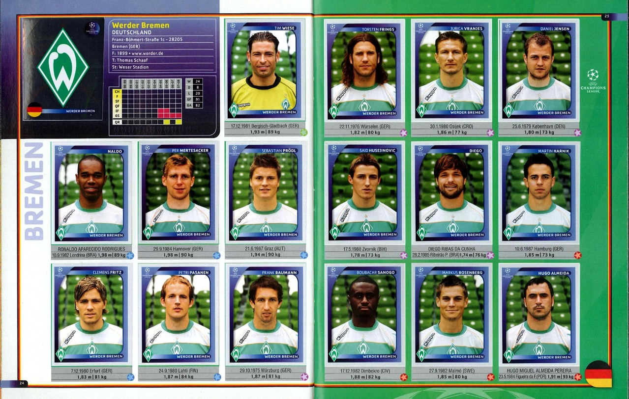 2008-09 - Panini Champions League - Pages 24 et 25 - Werder Brème