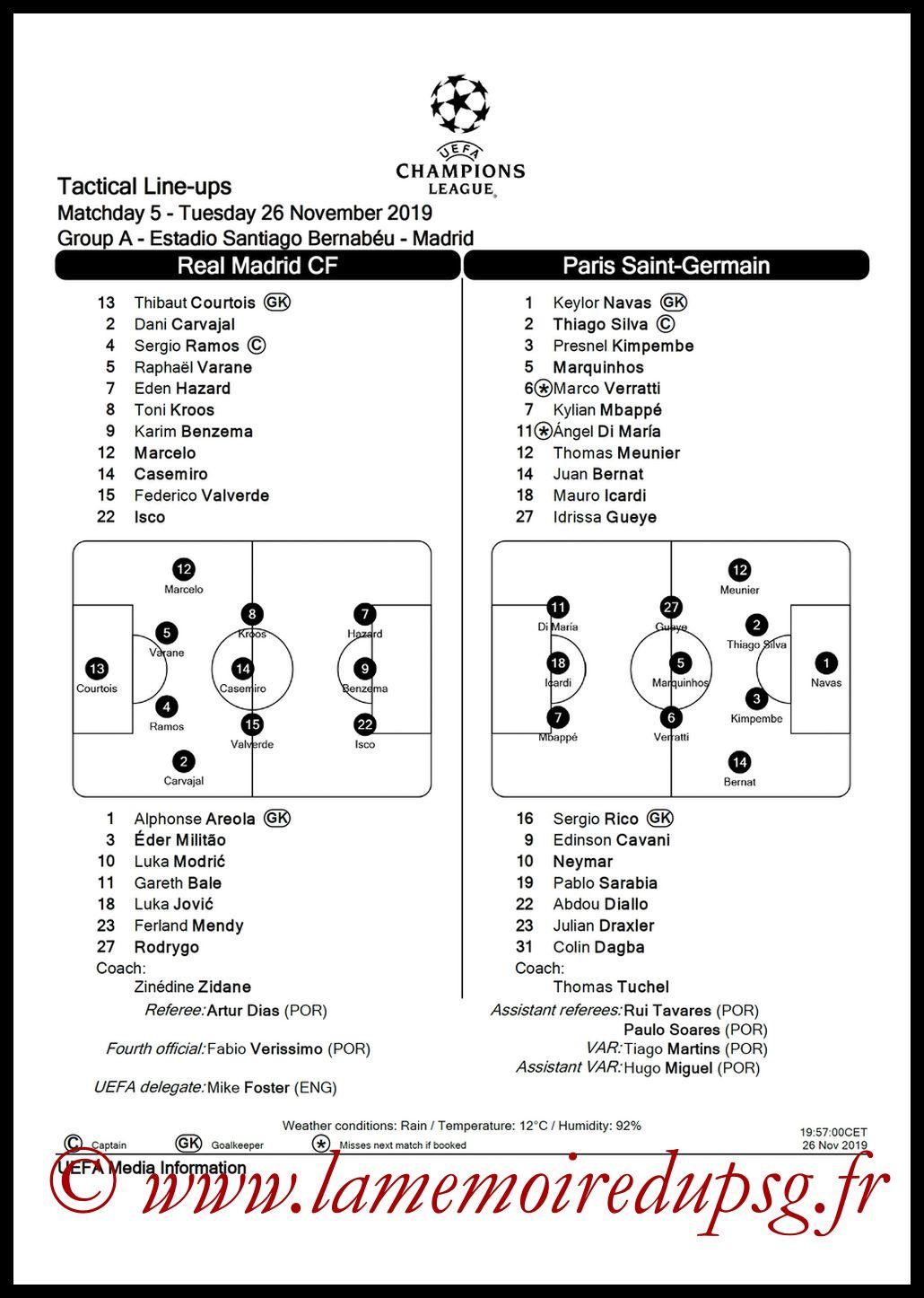2019-11-26  Real Madrid-PSG (5ème L1, Feuille de match)