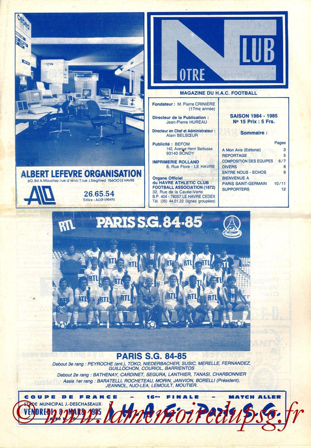 1985-03-09  Le Havre-PSG (16ème Finale Aller CF, Notre Club N°15)