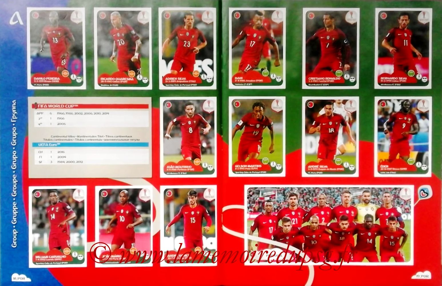 2017 - Panini Confederations Cup Russia Stickers - Pages 18 et 19 - Portugal