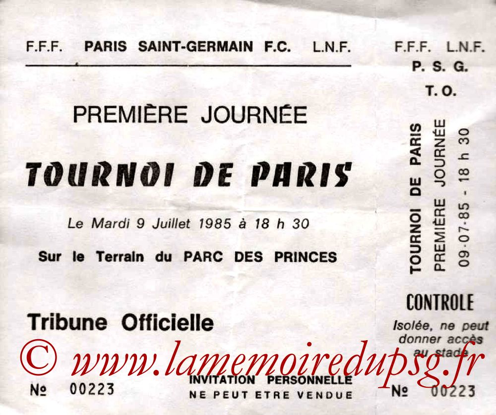 1985-07-09  PSG-Saint Etienne (Demi-Finale Tournoi de Paris, Invitation)