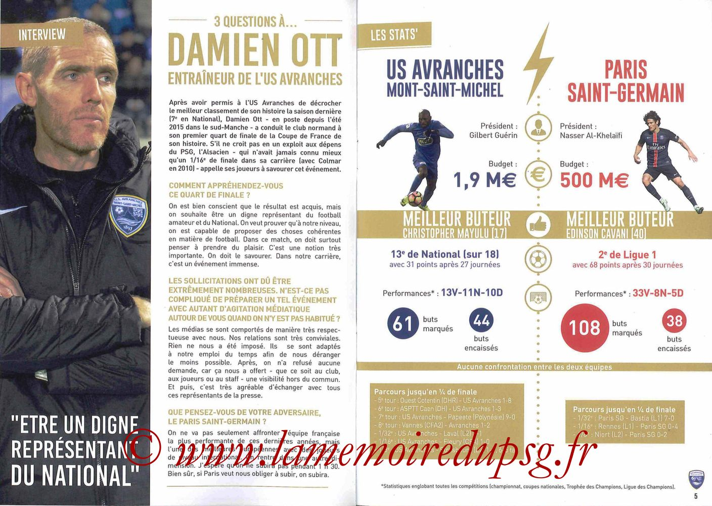 2017-04-05  Avranches-PSG (Quart CF à Caen, Programme officiel) - Pages 04 et 05