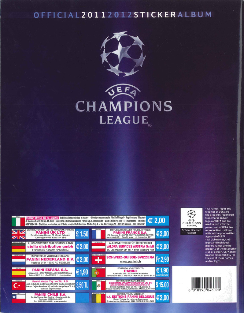 2011-12 - Panini Champions League - Dos d'album