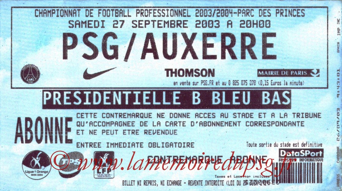 2003-09-27   PSG-Auxerre (8ème L1)