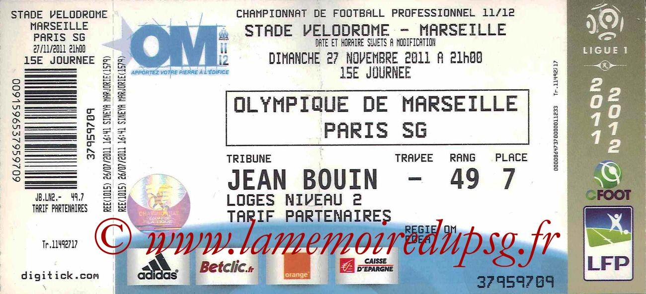 Ticket  Marseille-PSG  2011-12