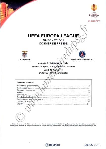 2011-03-10  Benfica-PSG (8ème Finale Aller C3, Dossier de presse, pas de programme officiel)