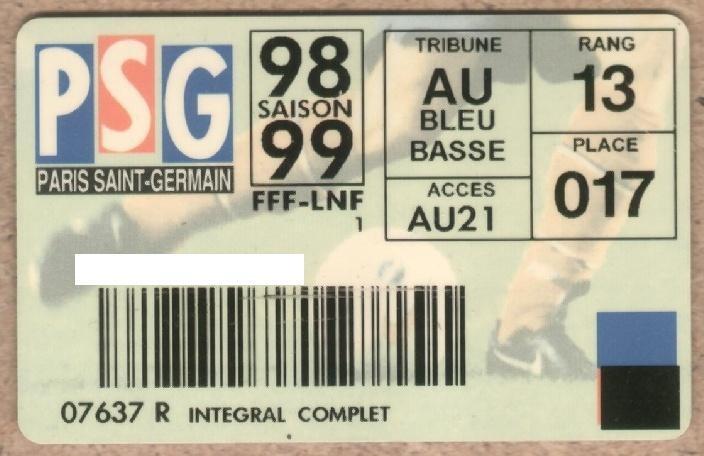Carte d'abonné PSG 1998-99