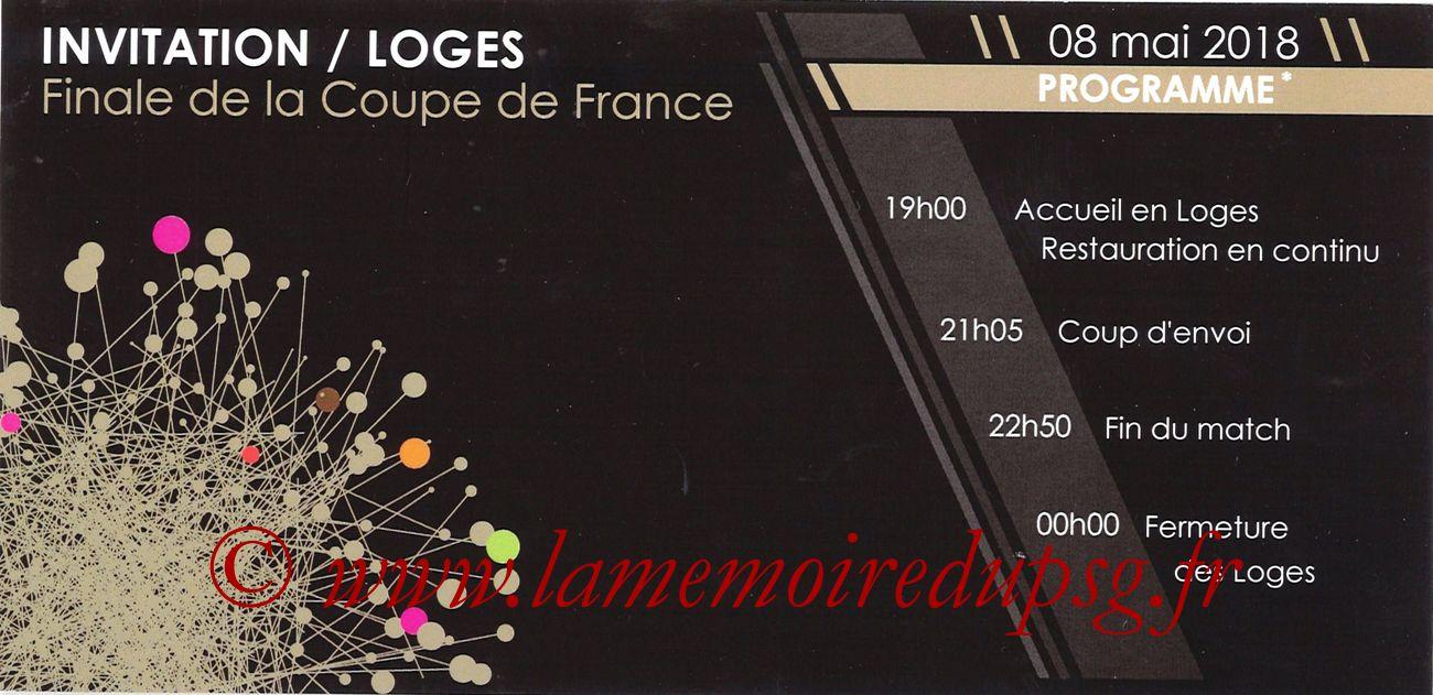 2018-05-08  Les Herbiers-PSG (Finale CF à Saint-Denis, Invitation Loges)
