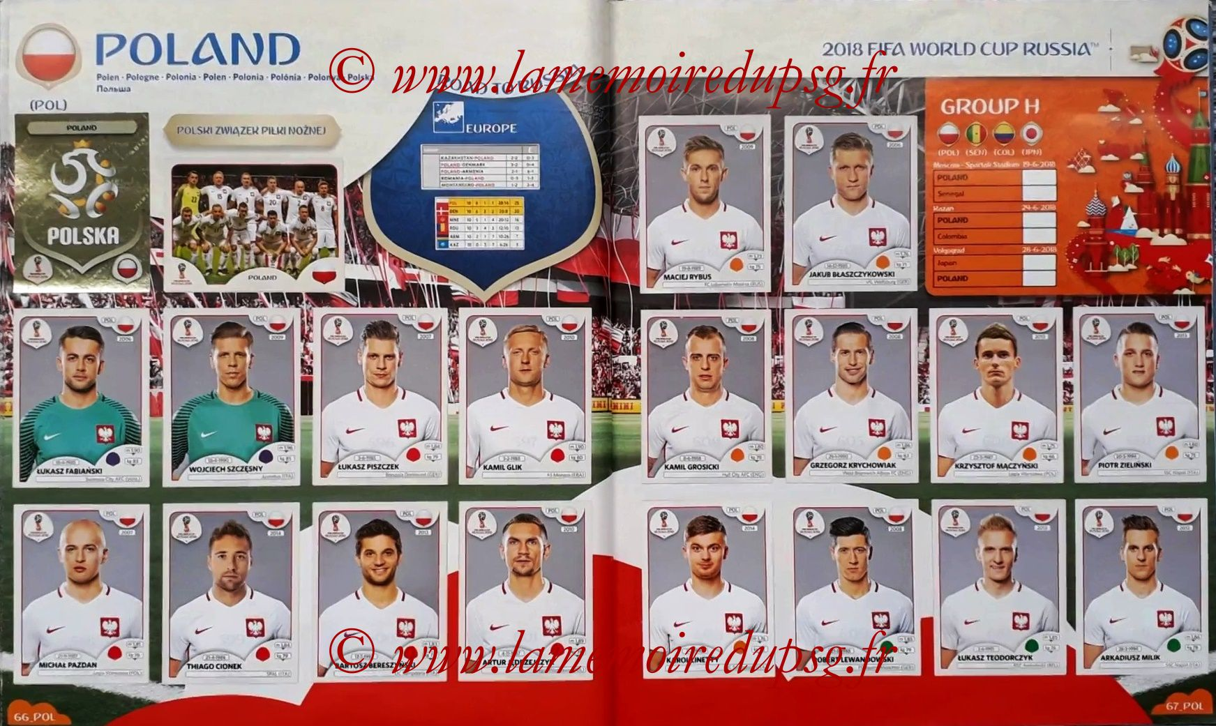 2018 - Panini FIFA World Cup Russia Stickers - Pages 66 et 67 - Pologne