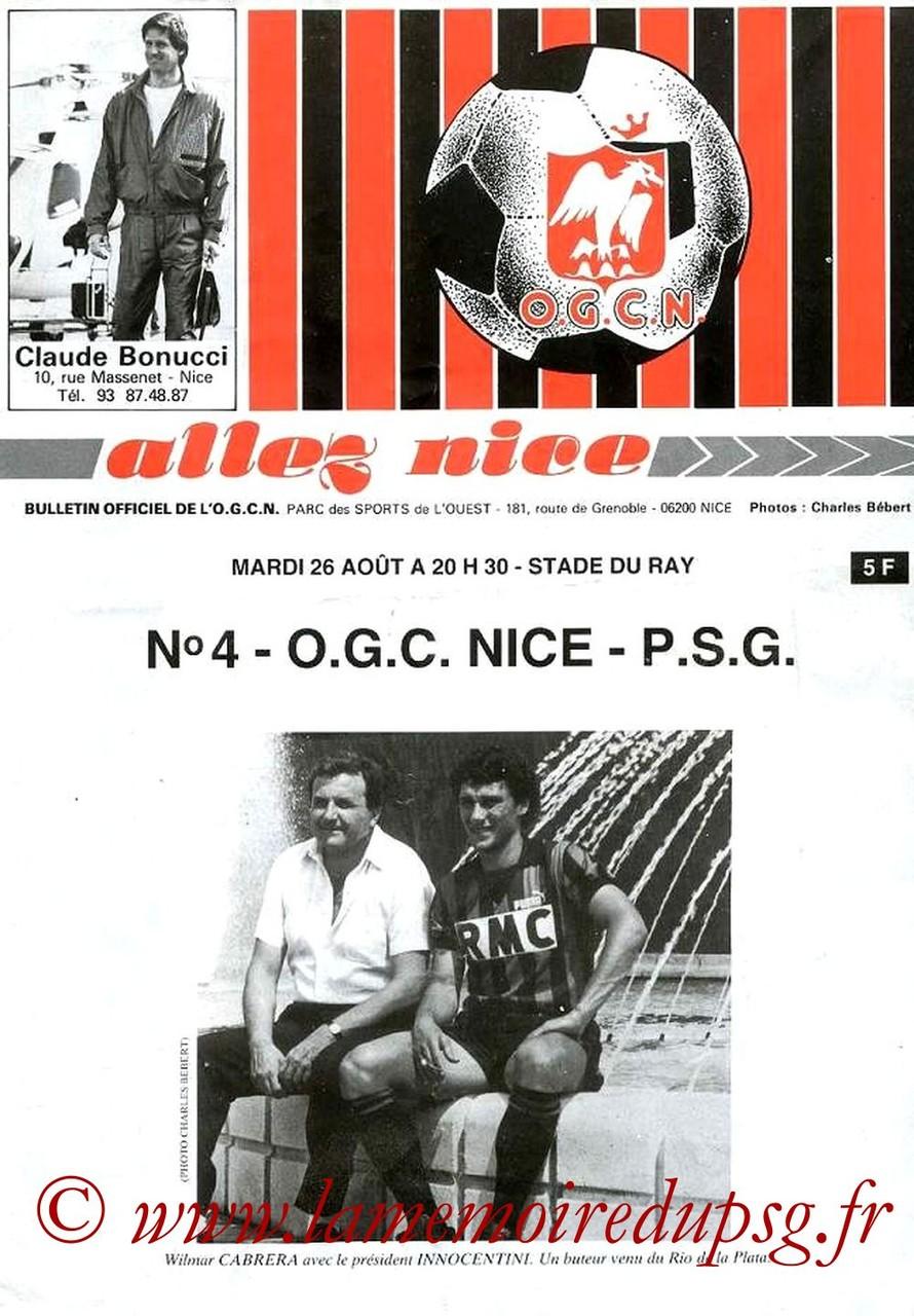 1986-08-26  Nice-PSG (6ème D1, Allez Nice N°4)