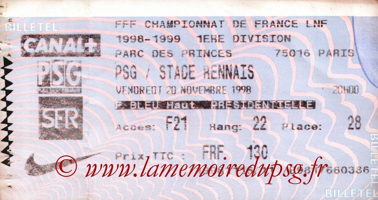 1998-11-20  PSG-Rennes (15ème D1, Billetel))
