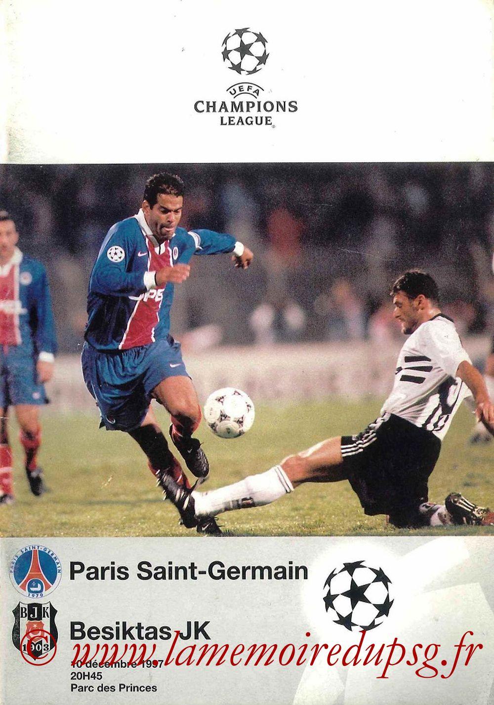 1997-12-10  PSG-Besiktas (6ème Poule C1, Programme Officiel UEFA)