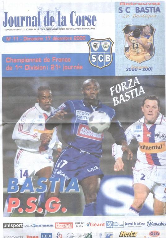 2000-12-17  Bastia-PSG (21ème D1, Le Journal de la Corse N°11)