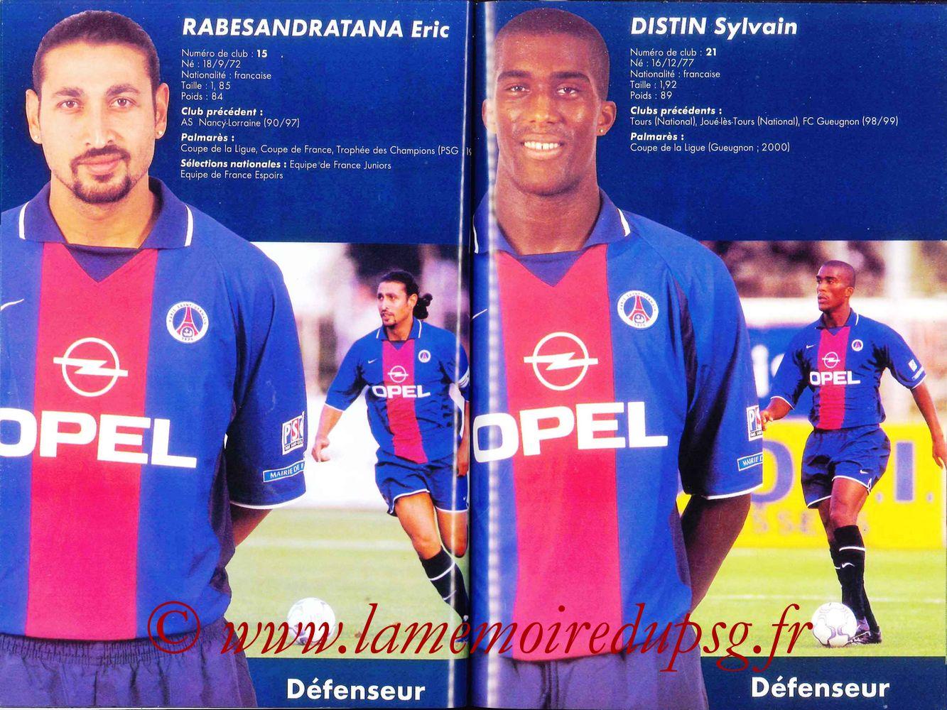 2000-01 - Guide de la Saison PSG - Pages 42 et 43