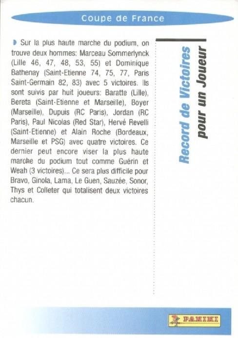 N° R12 - Coupe de France - Record de victoires en pour un joueur (Verso)
