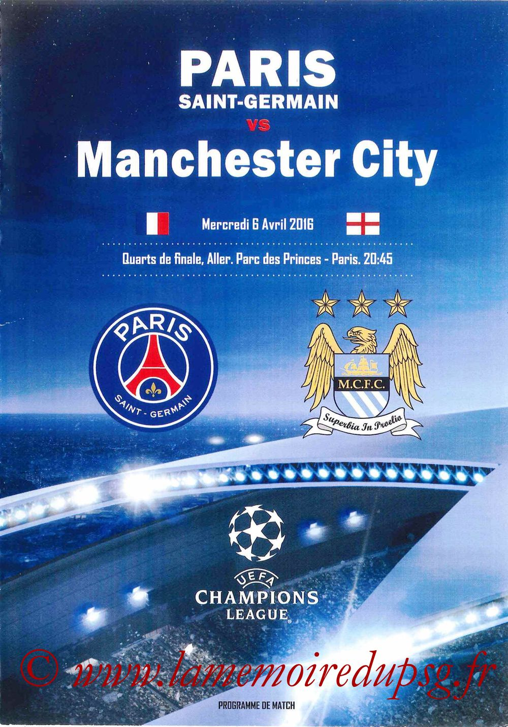 2016-04-06  PSG-Manchester City (Quart C1 Aller, Programme pirate2)