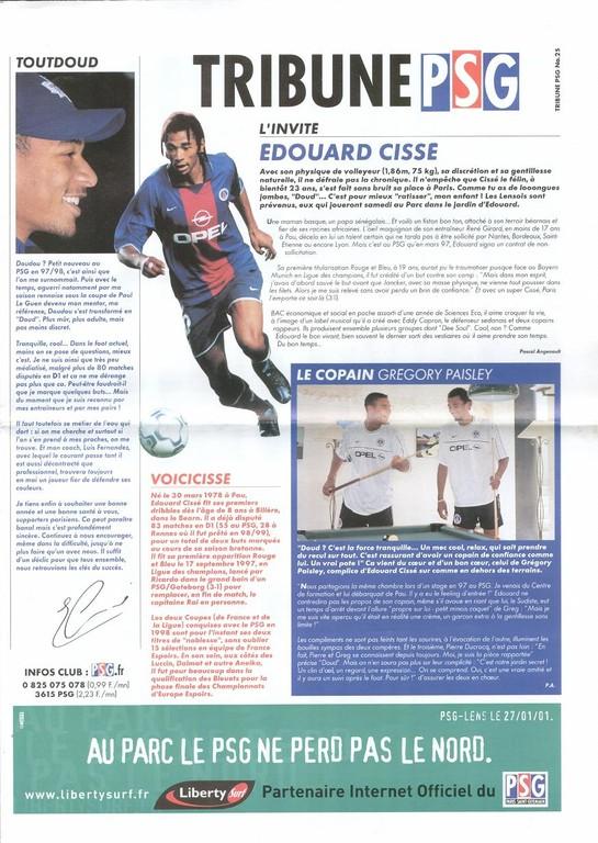 2001-01-27  PSG-Lens (24ème D1, Tribune PSG N°25)