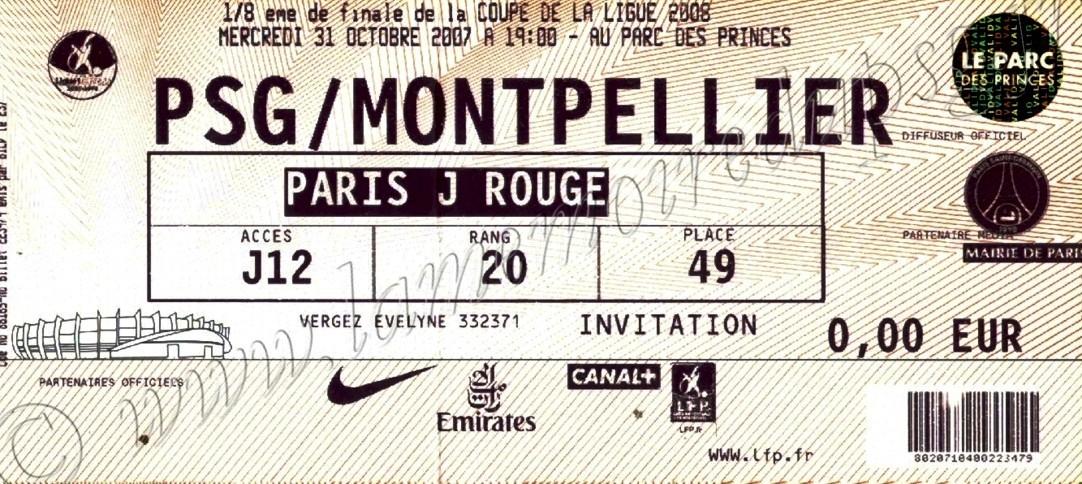 2007-10-31  PSG-Montpellier (8ème Finale CL, bis)