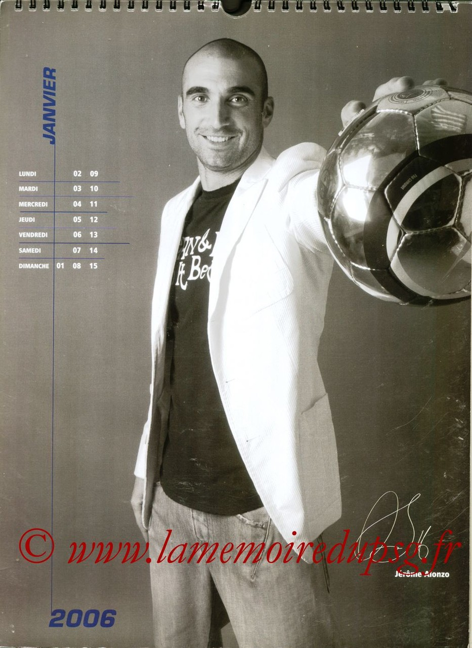 Calendrier PSG 2006 - Page 01 - Jérôme ALONZO
