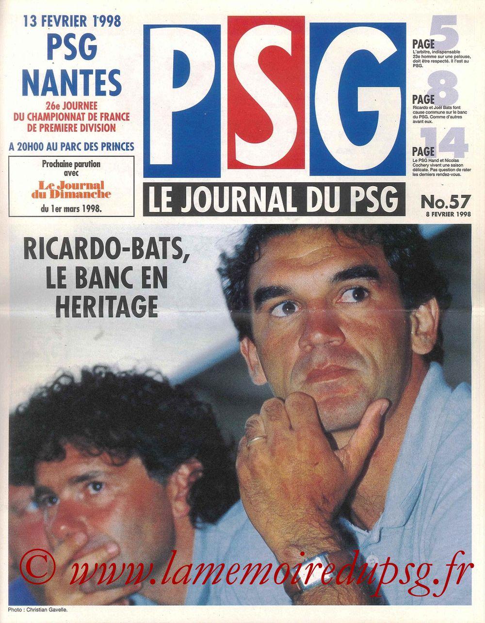 1998-02-13  PSG-Nantes (26ème D1, Le Journal du PSG N°57)