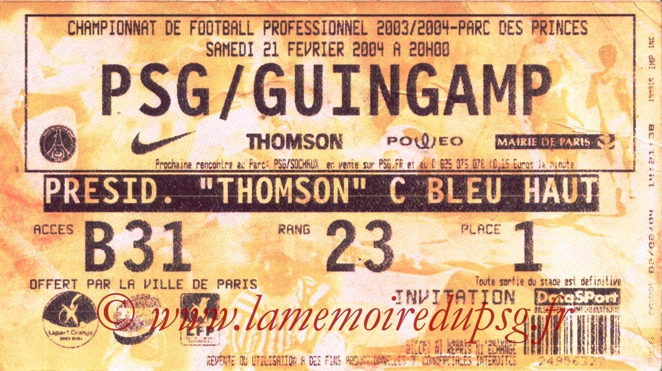 2004-02-21   PSG-Guingamp (25ème L1, bis)