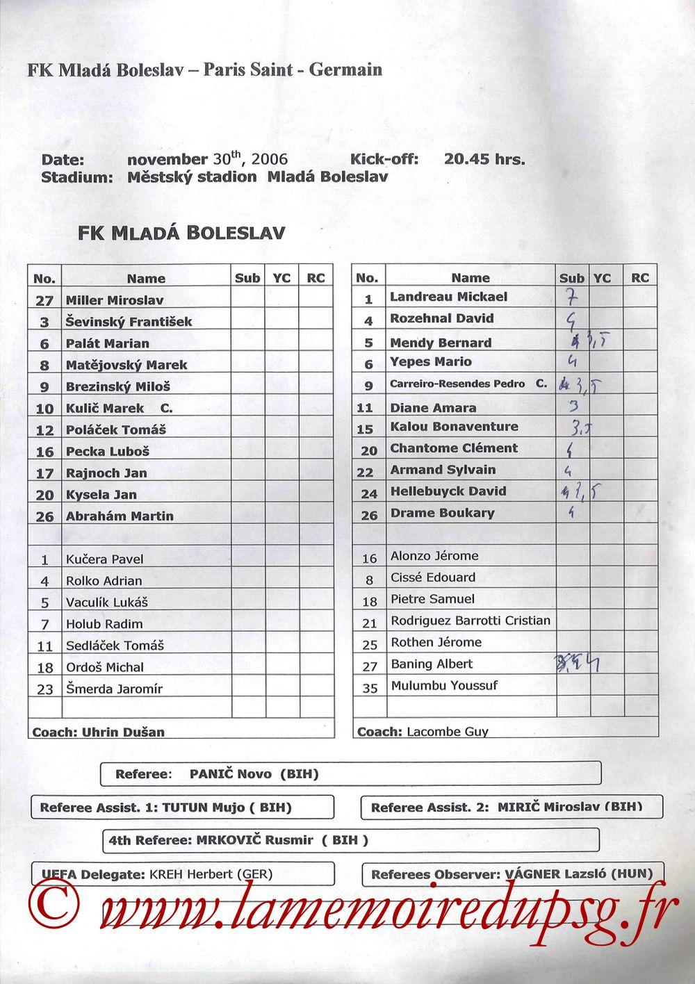 2006-11-30  Mlada Boleslav-PSG (4ème Poule C3, Feuille de match)