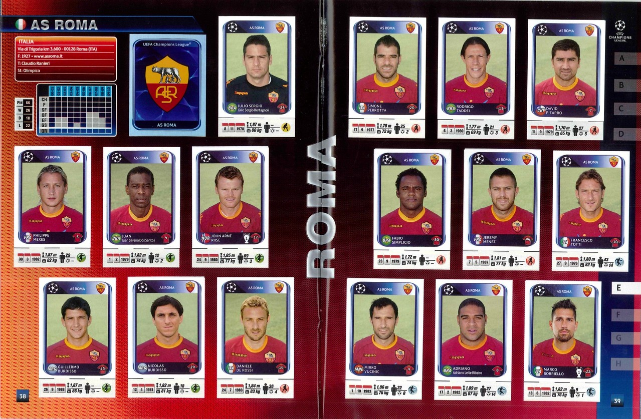 2010-11 - Panini Champions League - Pages 38 et 39 - AS Roma