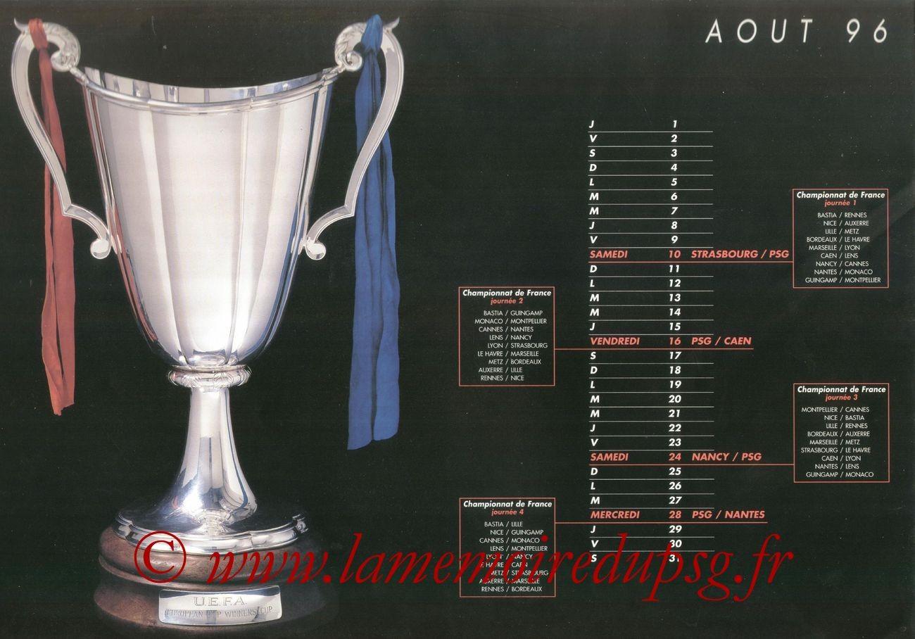 Calendrier PSG 1996-97 - Page 01 - Coupe des Coupes