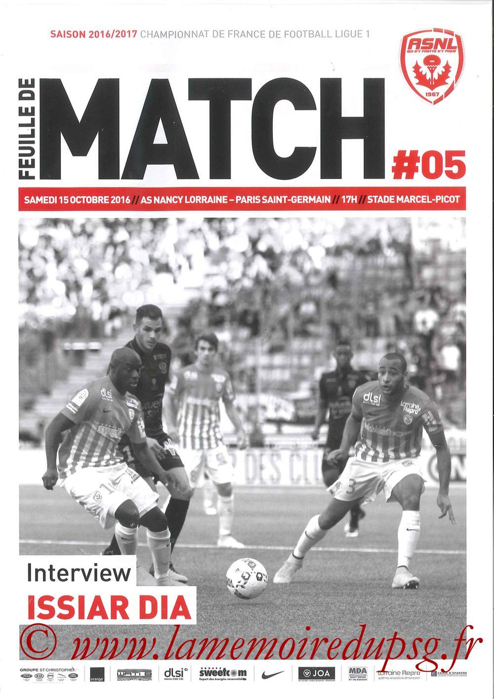 2016-10-15  Nancy-PSG (9ème L1, Feuille de match N°5)