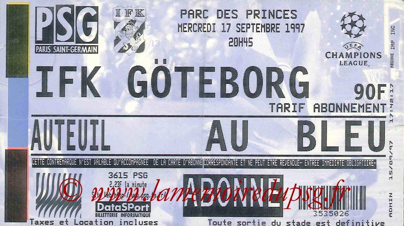 1997-09-17  PSG-IFK Goteborg (1ère Journée Poule C1)