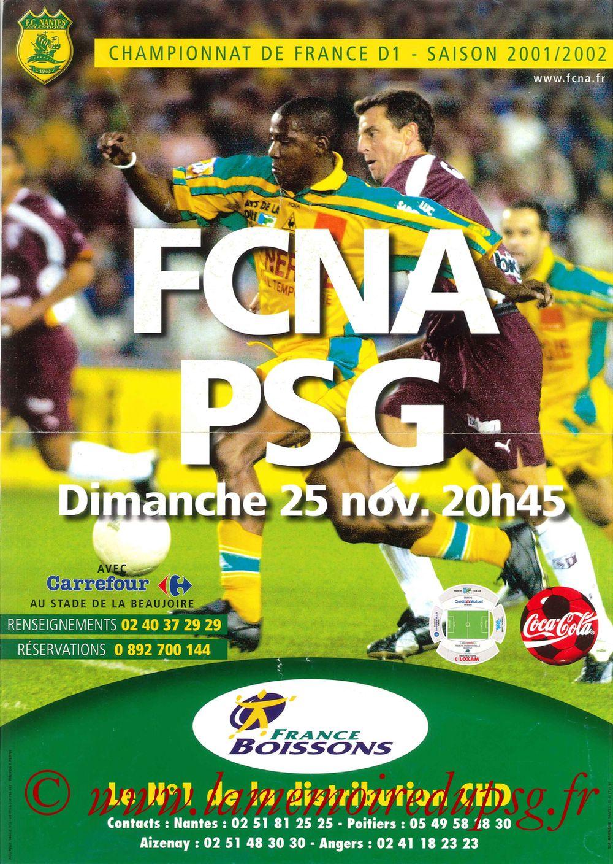 2001-11-25  Nantes-PSG 15ème D1, Affiche)