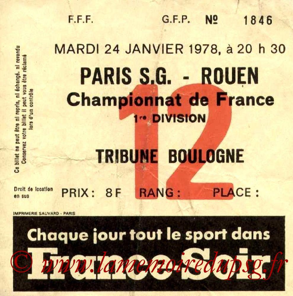1978-01-24  PSG-Rouen (25ème D1, Ticket N°12)