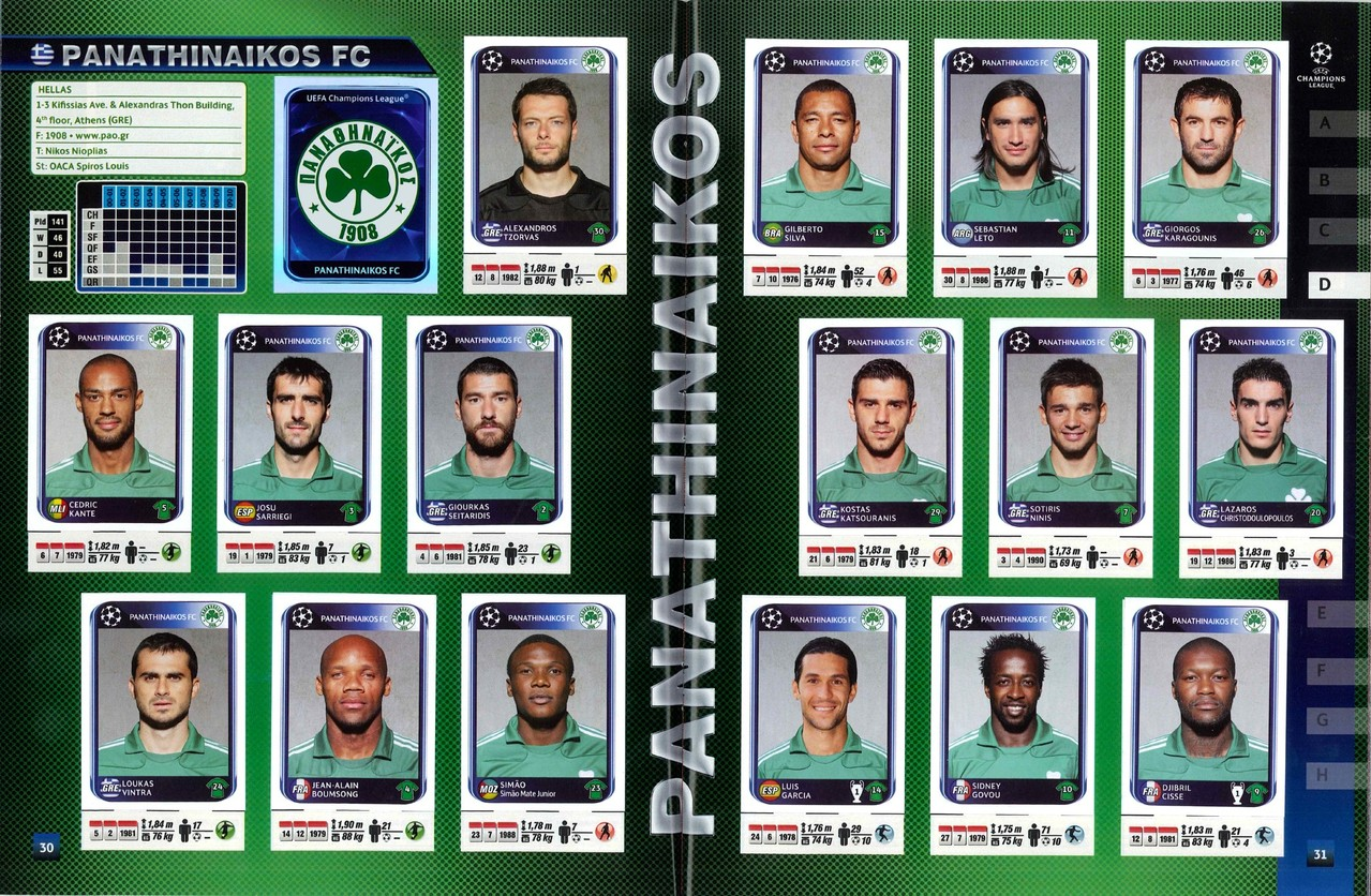 2010-11 - Panini Champions League - Pages 30 et 31 - Panathinaikos FC