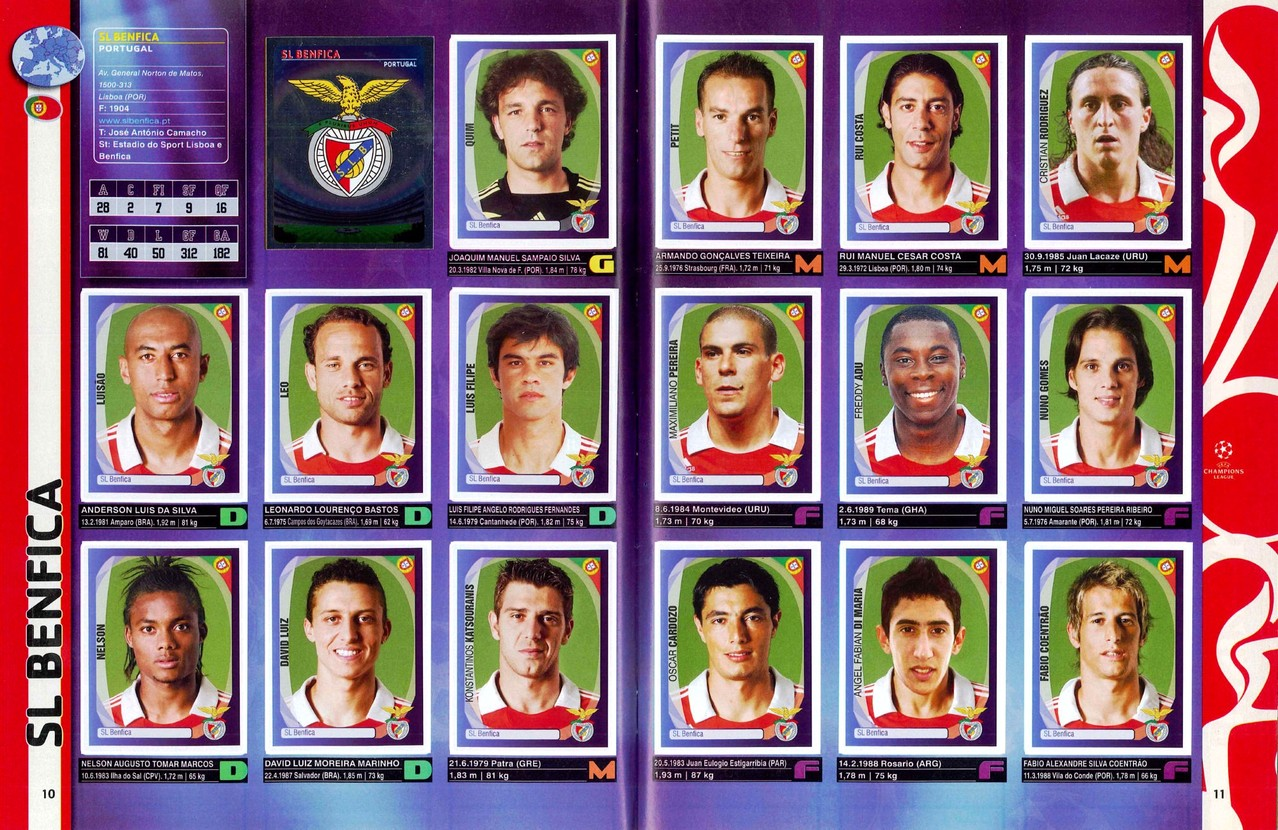 2007-08 - Panini Champions League - Pages 10 et 11 - SL Benfica