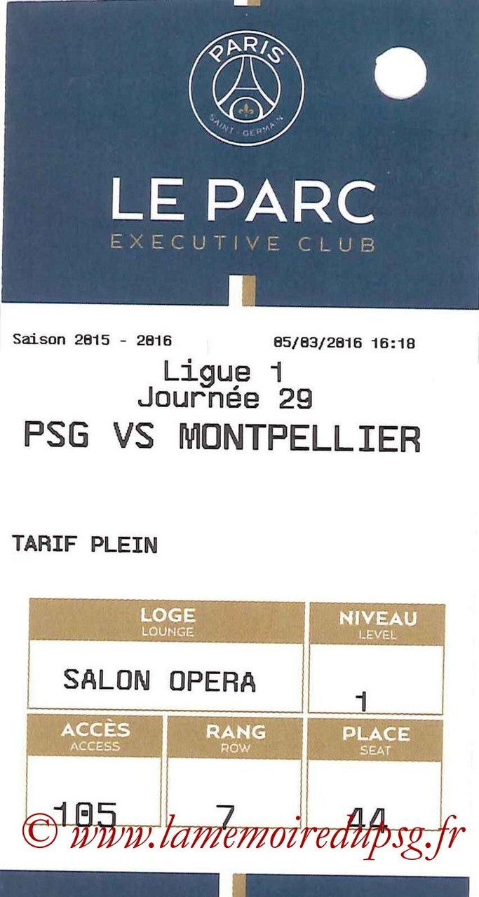 2016-03-05  PSG-Montpellier (29ème L1, E-ticket Executive club)