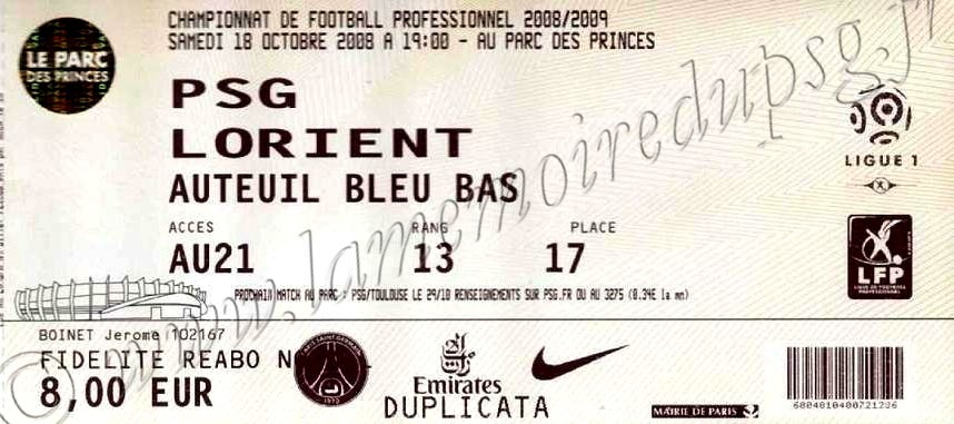 2008-10-18  PSG-Lorient (9ème L1)