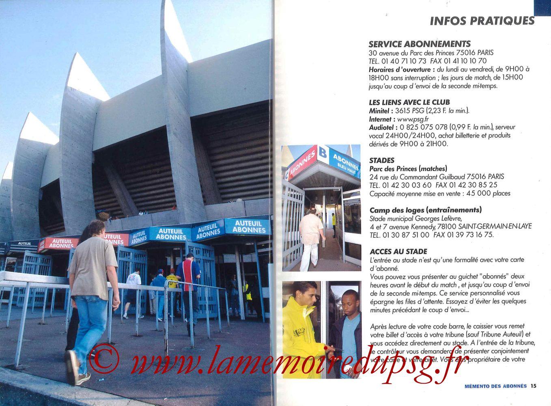 2000-01 - Guide de la Saison PSG - Pages 14 et 15