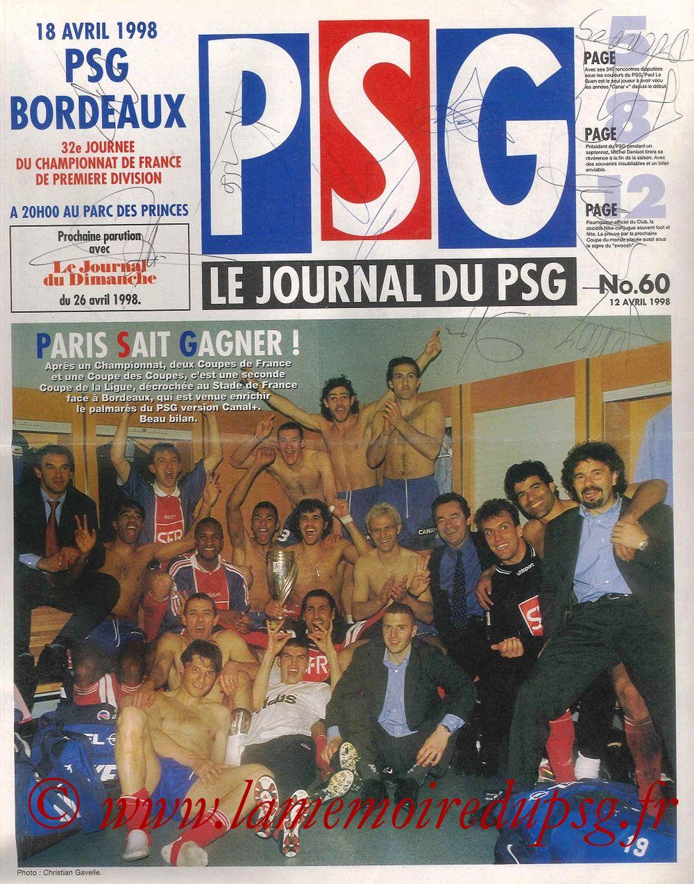 1998-04-18  PSG-Bordeaux (32ème D1, Le Journal du PSG N° 60)