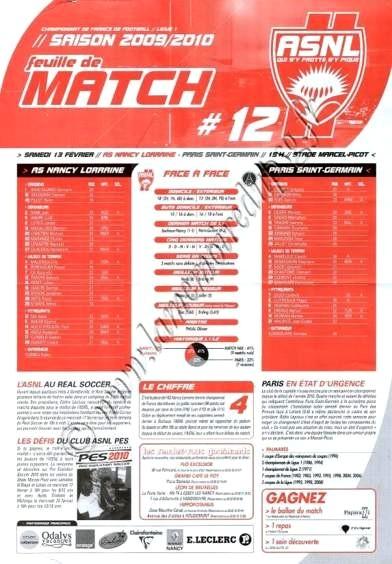 2010-02-13  Nancy-PSG (24ème L1, Feuille de match N°12)