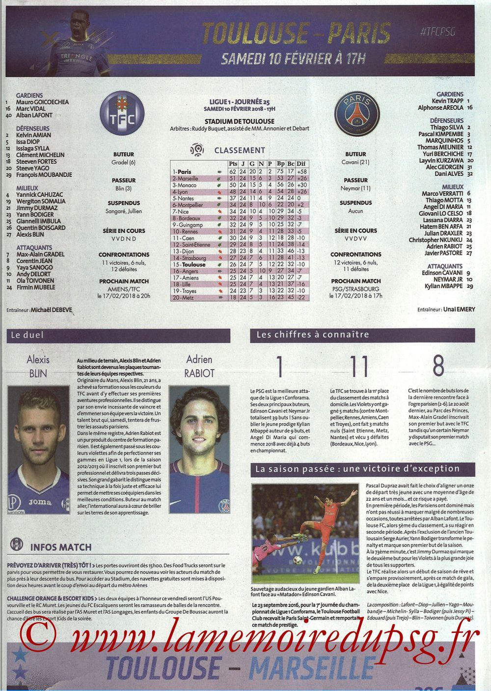 2018-02-10  Toulouse-PSG (25ème L1, Programme officiel) - Page 02