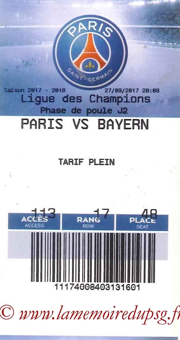 2017-09-27  PSG-Bayern (2ème C1, E-ticket)