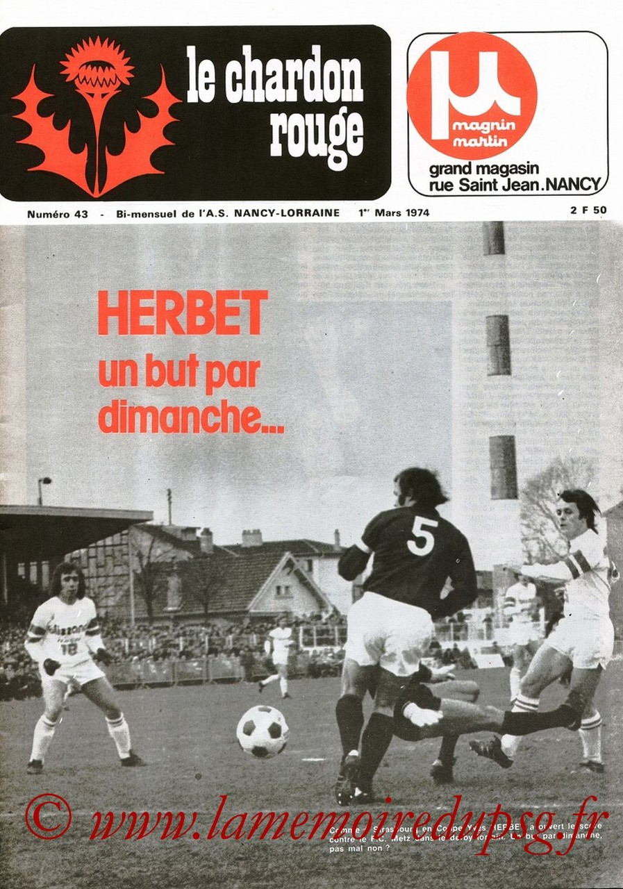 1974-03-02  Nancy-PSG (16ème Aller CF, Le Chardon Rouge N°43)