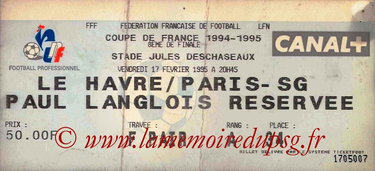1995-03-08  Le Havre-PSG (8ème Finale CF, match rejoué)