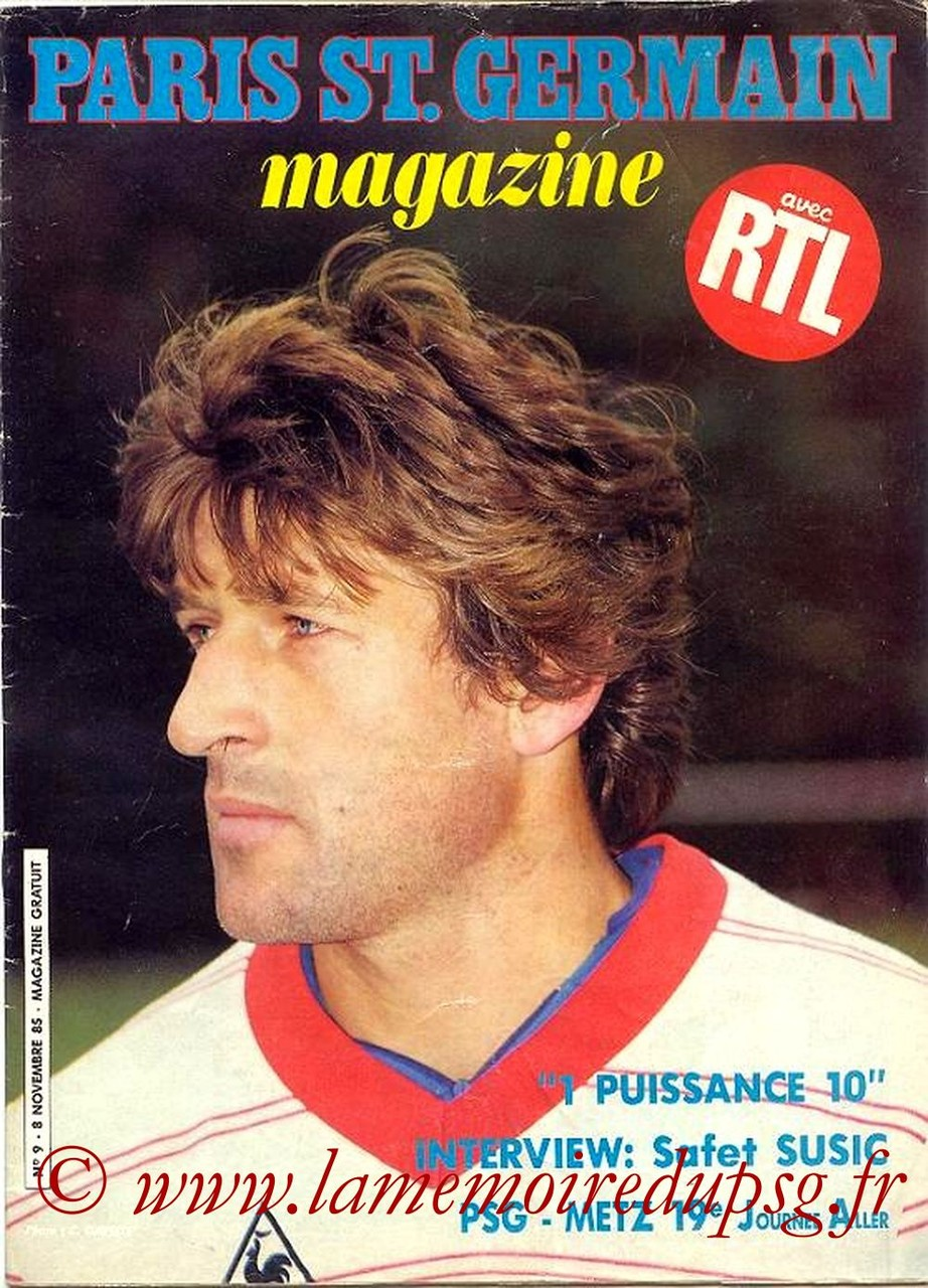 1985-11-08  PSG-Metz (19ème D1, Paris St Germain Magazine N°9)